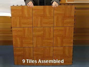 Nine dance floor tiles assembled