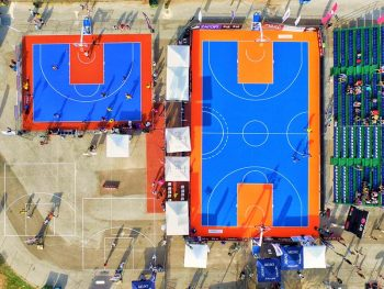 Mobile basketball floor seen from above