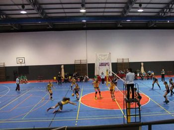 Full action on the mobile volleyball floor