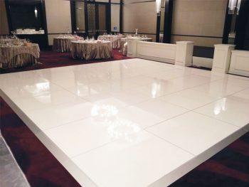 White glossy dance floor