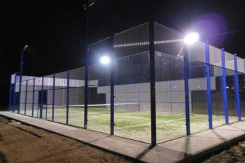 Outdoor padel court with lights